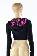 Black Zen & Neon Lighting Crop Hoodie