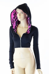 Black Zen & Neon Lightning Crop Hoodie - Coquetry Clothing