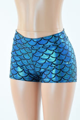 Turquoise Mid Rise Mermaid Shorts - Coquetry Clothing