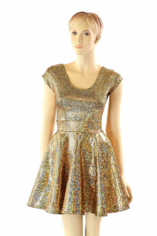 Gold Shattered Glass Skater Dress - Coquetry Clothing