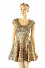 Gold Shattered Glass Skater Dress