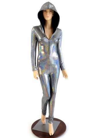 Silver Holographic Zipper Catsuit - Coquetry Clothing