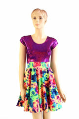Acid Splash & Fuchsia Skater Dress - Coquetry Clothing