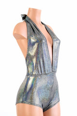 """Josie"" Romper in Silver Holographic - Coquetry Clothing"