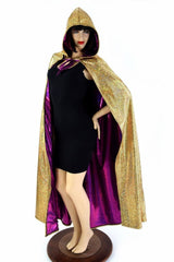 Gold & Fuchsia Reversible Hooded Cape - Coquetry Clothing