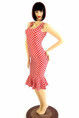 Polka Dot Ruffled Tank Wiggle Dress - Coquetry Clothing