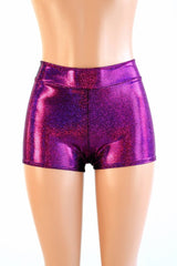 Fuchsia Sparkly Jewel Mid Rise Shorts - Coquetry Clothing