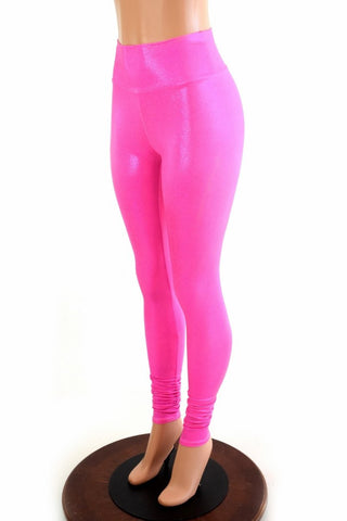 Pink Holographic High Waist Leggings - Coquetry Clothing