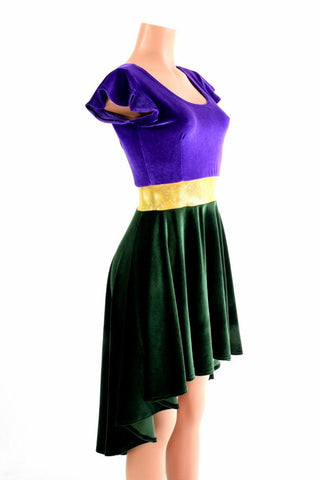 Mardi Gras Velvet Hi Lo Skater Dress - Coquetry Clothing