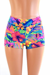 Tahitian Floral Midrise Shorts - Coquetry Clothing