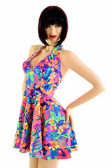 Tahitian Floral Halter Skater Dress - Coquetry Clothing