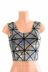 Silver Holographic Crop Tank - Coquetry Clothing