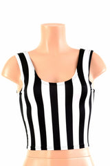 Black and White Stripe Crop Top - Coquetry Clothing