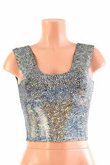 Silver Shattered Glass Crop Tank - Coquetry Clothing