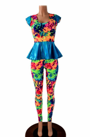 Acid Splash Peplum & Leggings Set - Coquetry Clothing