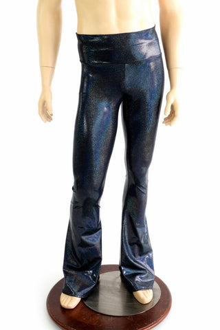 Mens Black Holographic Bootcut Pants - Coquetry Clothing