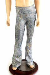 Mens Silver Shattered Glass Bootcut Pants - Coquetry Clothing