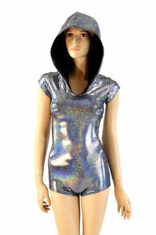 Silver Holographic Hoodie Romper - Coquetry Clothing