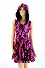 Pink Lightning Pocket Hoodie Skater Dress - Coquetry Clothing