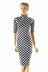 Black & White Checkered Bodycon Dress