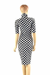 Black & White Checkered Bodycon Dress - Coquetry Clothing