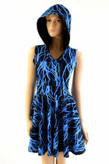 Blue Lightning Pocket Hooded Skater Dress - Coquetry Clothing