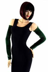 Forest Green Velvet Arm Warmer Sleeves - Coquetry Clothing