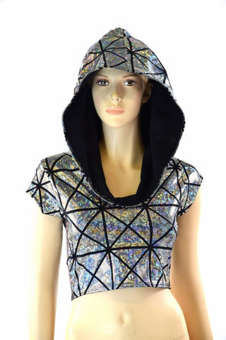 Cracked Tiles Crop Hoodie - Coquetry Clothing