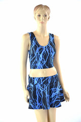 Neon Blue Lightning Crop & Skirt Set - Coquetry Clothing
