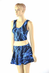 Neon Blue Lightning Crop & Skirt Set
