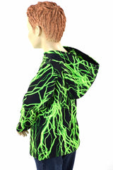 Childrens Neon Green Lightning Hoodie