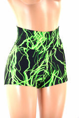 Neon UV Glow High Waist Shorts - Coquetry Clothing