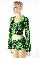 Neon Lightning Crop & Shorts Set - Coquetry Clothing