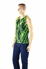 Mens Neon UV Glow Lightning Muscle Shirt - Coquetry Clothing
