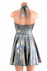 Silver Holographic Halter Skater Dress - Coquetry Clothing