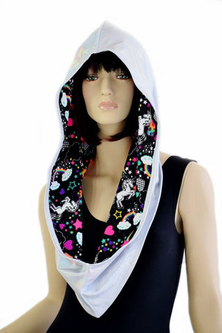 Flashbulb & Unicorns and Rainbows Reversible Infinity Festival Hood - Coquetry Clothing