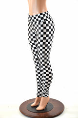 Black & White Checkered Leggings - Coquetry Clothing