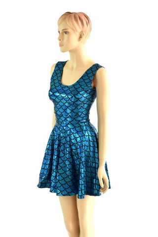 Turquoise Mermaid Skater Dress - Coquetry Clothing