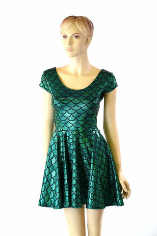 Green Mermaid Skater Dress - Coquetry Clothing