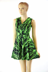 Green Lightning Pocket Hoodie Skater Dress - Coquetry Clothing
