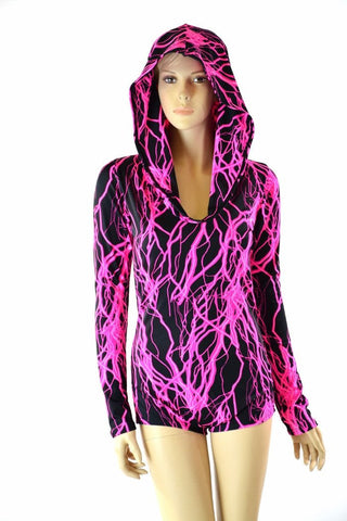 Neon Lightning Hoodie Romper - Coquetry Clothing