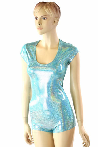 Seafoam Holographic Cap Sleeve Romper - Coquetry Clothing