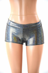 Lowrise Shorts in Silver Holographic