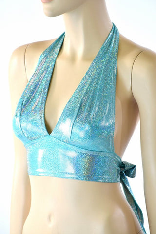 Darted Tie Back Halter in Seafoam Holographic