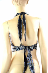 Silver on Black Cracked Tiles Halter - Coquetry Clothing