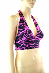 Neon Pink Lightning Tie Back Halter - Coquetry Clothing