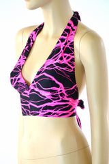 Neon Pink Lighting Tie Back Halter - Coquetry Clothing