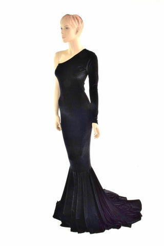 One Shoulder Black Velvet Puddle Train Gown