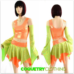 Pixie Day-Tripper Set in Lime Holo & Orange Sparkly - Coquetry Clothing