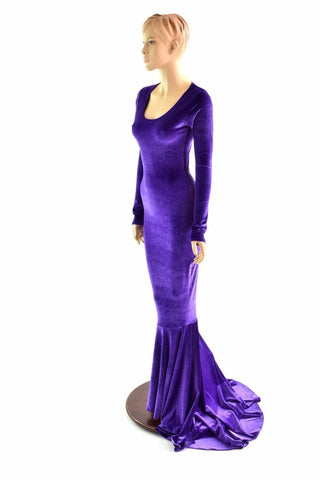 Purple Velvet Puddle Train Gown - Coquetry Clothing